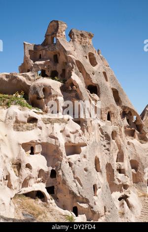 rock houses, uchisar, cappadocia, anatolia, turkey, asia - Stock Photo