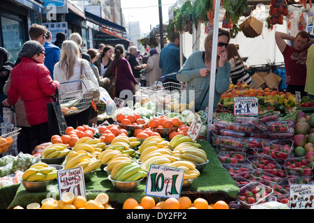 North End Rd Market in Fulham SW6 - London UK - Stock Photo