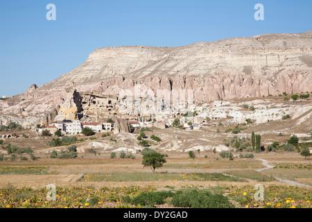 rock houses, cavusin village, cappadocia, anatolia, turkey, asia - Stock Photo