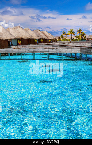 Luxury resort in Maldives, little wooden bungalows over blue transparent water, spending summer vacation on Indian - Stock Photo