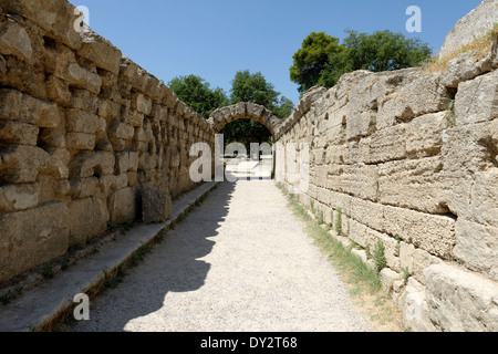 Inside view vaulted entrance to stadium Ancient Olympia Peloponnese Greece entrance was built during 3rd - Stock Photo