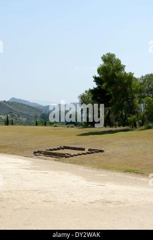 View Exedra Hellanodikai on south embankment Olympic stadium Ancient Olympia Peloponnese Greece The - Stock Photo