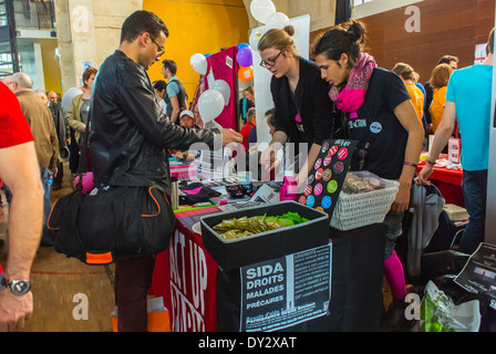 Paris, France, LGBT Gay Organization Annual Trade Show, le Printemps des Associations, by the Inter-LGBT, Act Up - Stock Photo