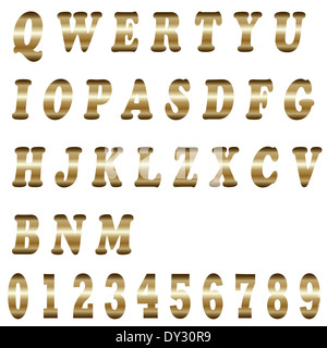 Golden alphabet - isolated on a white background - Stock Photo