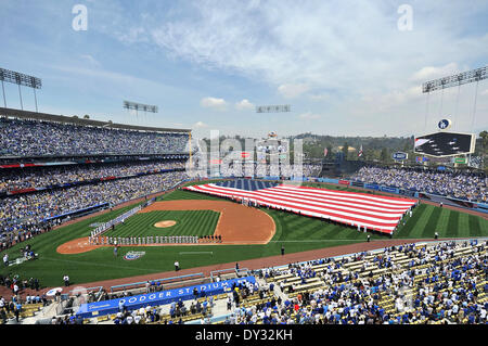 Los Angeles, CA, USA. 4th Apr, 2014. Opening Ceremonies before the Major League Baseball game Home Opener between - Stock Photo