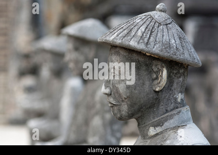 Hue, Vietnam, Southeast Asia. Honour Courtyard, Tomb of Khai Dinh, guardian statues - Stock Photo