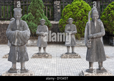 Hue, Vietnam, Southeast Asia. Honour Courtyard, Tomb of Khai Dinh, guardian mandarin statues - Stock Photo