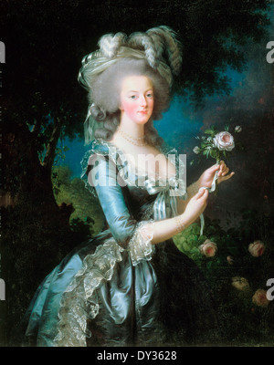 Louise Elisabeth Vigee Le Brun, Marie-Antoinette with the Rose 1783 Oil on canvas. Palace of Versailles, France. - Stock Photo