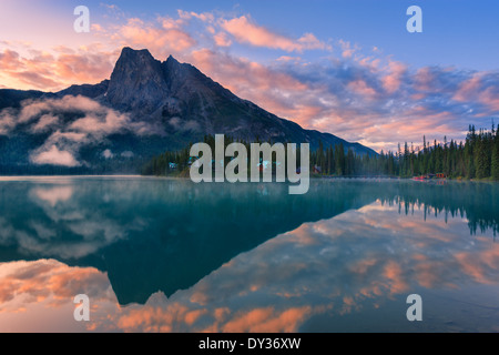 Sunrise Emerald Lake in Yoho National Park, British Columbia, Canada - Stock Photo