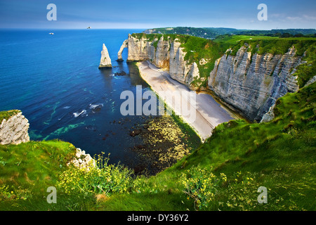 The cliffs of Etretat on the Normandy coast, France - Stock Photo