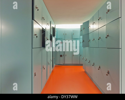 Locker Room with many lockers - Stock Photo