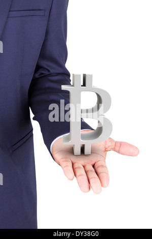 Business man holding bitcoin currency symbol, isolated on white background - Stock Photo