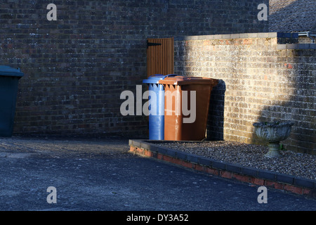Wheelie bins, brown and blue trash cans sit side by side behind the house - Stock Photo