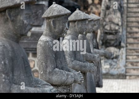 Hue, Vietnam, Southeast Asia. Stone statues at the Honour Courtyard, Tomb of Khai Dinh - Stock Photo