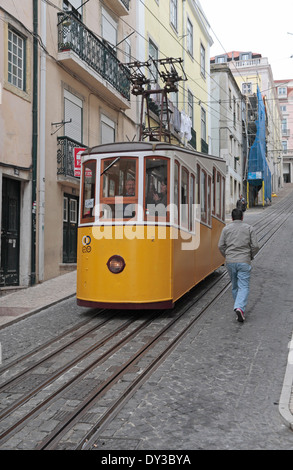 A yellow tram on the Elevador da Bica (or Bica Funicular),  Rua da Bica de Duarte Belo, Lisbon (Lisboa) Portugal. - Stock Photo
