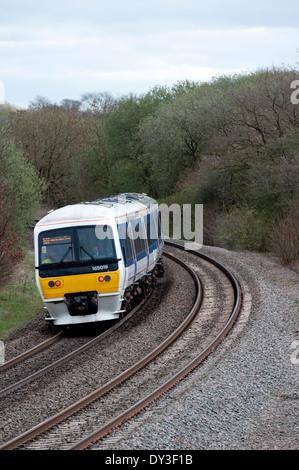 Chiltern Railways Class 165 train, going away, Hatton North Junction, Warwickshire, UK - Stock Photo