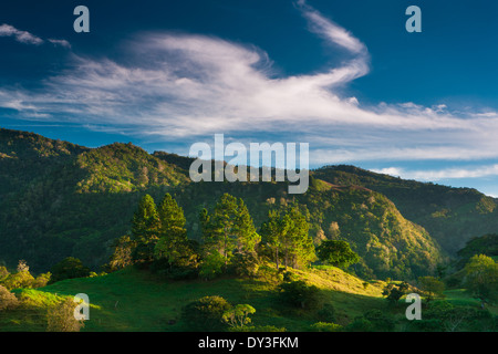 Early morning light on the hills near the Volcan village in the Chiriqui province, Republic of Panama. - Stock Photo