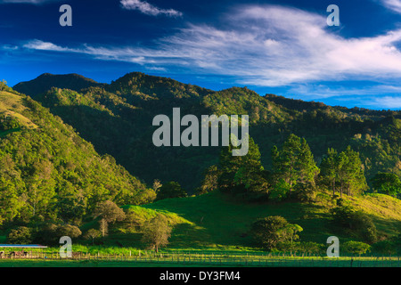 Beautiful early morning light on the hills near the Volcan village in the Chiriqui province, Republic of Panama. - Stock Photo