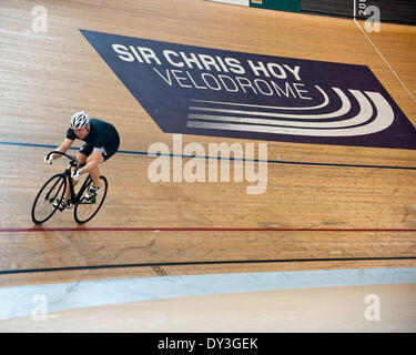 Glasgow, Scotland, UK. 5th April 2014. 05 April 2014.Sir Chris Hoy made an appearance at the Emirate's Stadium Glasgow - Stock Photo