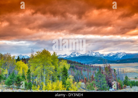 Sunset over the Sawtooth mountains of Idaho - Stock Photo