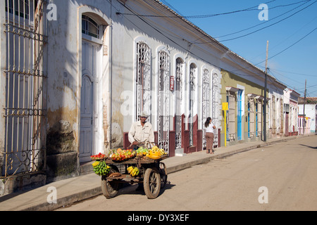 Mobile fruit and vegetable seller back street Remedios Cuba - Stock Photo