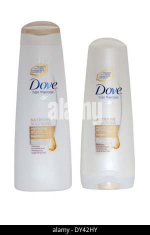 Two containers Dove Nourishing Oil Care Hair shampoo and conditioner - Stock Photo