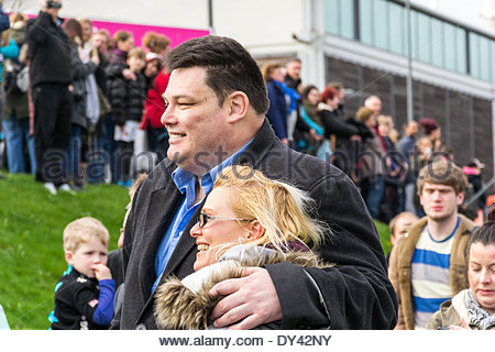 Sheffield, UK. 6th April, 2014. Mark Labbett, 'The Beast' at the start of the disastrous Sheffield Half Marathon - Stock Photo