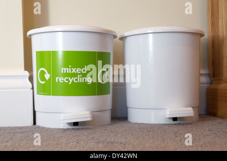 Pedal bins for recycling and rubbish in B&B - Stock Photo