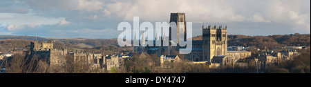 Stitched Panorama of Durham Cathedral and Castle - Stock Photo