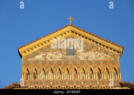 The facade of Amalfi Cathedral in Piazza Duomo, Amalfi, Italy - Stock Photo