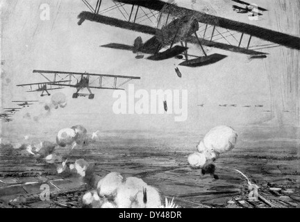 This contemporary illustration shows German bases in Belgium during World War I being attacked by Allied planes. - Stock Photo