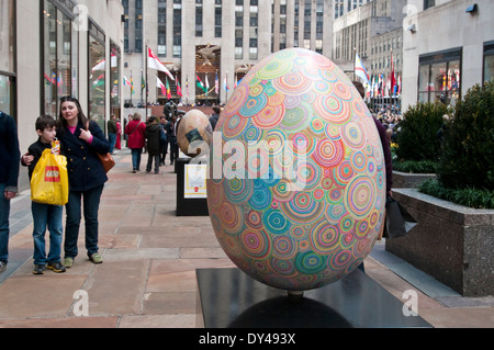 New York, NY - April 5, 1214: 'When Ginger Blossoms' Egg, created by artist Tanya Minha, is displayed at Rockefeller - Stock Photo