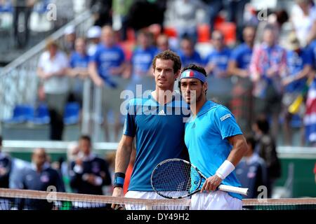 Naples, Italy. 6th Apr, 2014. Fabio Fognini of Italy and Andy Murray of Great Britain during day three of the Davis - Stock Photo