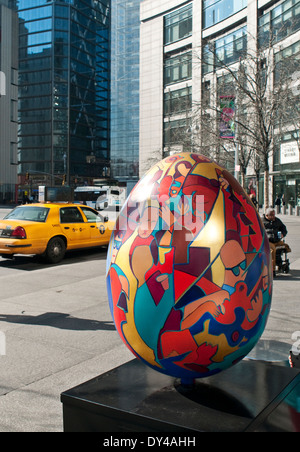 New York, NY - April 6, 1214: 'Brooklyn Symphony' Egg, created by artist Kayti Didriksen, is displayed outside of - Stock Photo