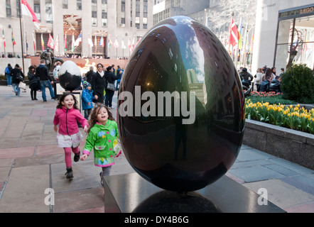 New York, NY - April 5, 1214: A Faberge egg, created by artist Eric Cahan, is displayed at Rockefeller Center as - Stock Photo