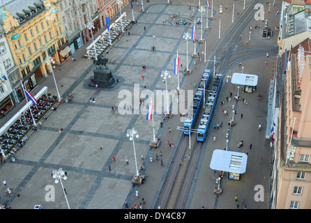 Main square in Zagreb named Ban Jelacic - Stock Photo