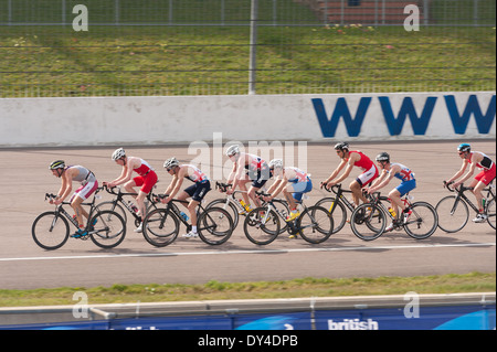 Elite duathlon championships 2014 March 30th seniors men leading pack of cyclists drafting in slipstream - Stock Photo
