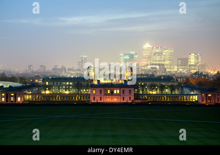 Maritime Museum Greenwich looking out to Canary Wharf London - Stock Photo
