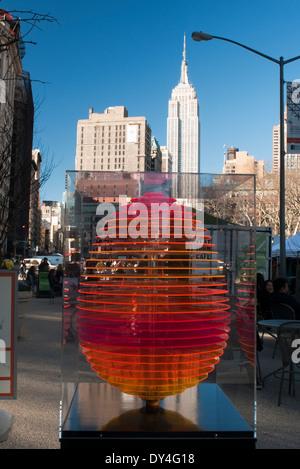 New York, NY - April 6, 1214: 'Columbus Egg', created by Stamberg Aferiat/Tsang + Vilanova, is displayed at in the - Stock Photo