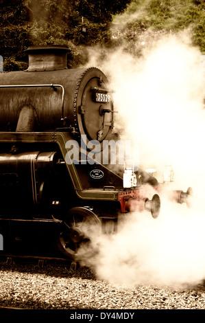 Steam train at North Yorkshire railway heritage railway George Stephenson - Stock Photo