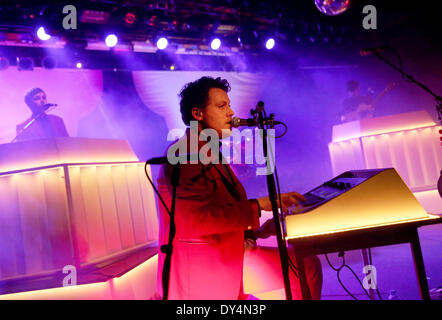 Berlin, Germany. 06th Apr, 2014. Joseph Mount of the British group Metronomy performs on stage during a concert - Stock Photo