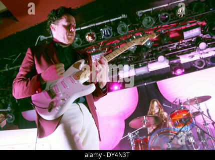 Berlin, Germany. 06th Apr, 2014. Joseph Mount and Anna Prior (R) of the British group Metronomy perform on stage - Stock Photo
