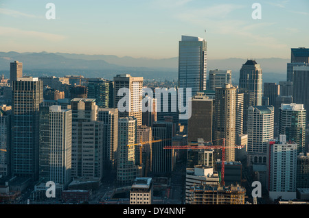 Aerial photo, seattle, USA, desaturated, view of skyscrapers from the spaceneedle - Stock Photo