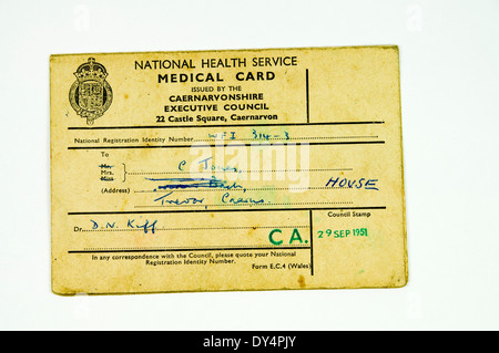 Old National Health Service Medical Card. - Stock Photo