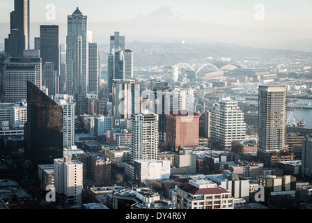 Aerial photo, seattle, USA, desaturated, mount rainier in the back ground, view of skyscrapers from the spaceneedle, - Stock Photo
