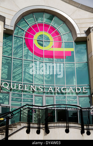 Upstairs entrance to Queens Arcade, St Davids Shopping Centre, Cardiff, Wales, UK. - Stock Photo