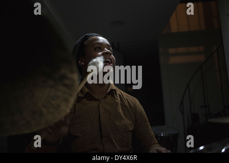 Musician playing drums - Stock Photo