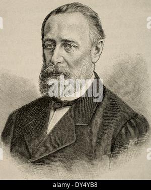 Mikhail Katkov (1818-1887). Russian journalist. Engraving by Kaeseberg, Universal History, 1885. - Stock Photo