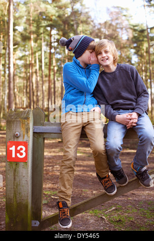 Twin brothers sitting and whispering on gate in forest - Stock Photo