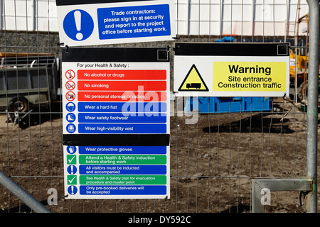 Health And Safety Notices at the entrance to a construction site, UK - Stock Photo